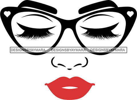 Afro Girl Babe Sexy Glasses Lips Eyes Closed SVG Cutting Files For Silhouette Cricut