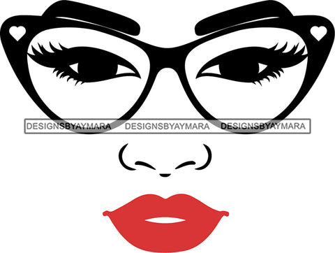 Afro Girl Babe Sexy Glasses Lips SVG Cutting Files For Silhouette Cricut