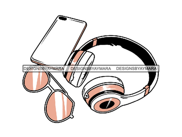 Headphones Airtight Box Electronics In-ear Intelligent Mobile Phone Wireless Technology .SVG .EPS .PNG Vector Clipart Digital Download