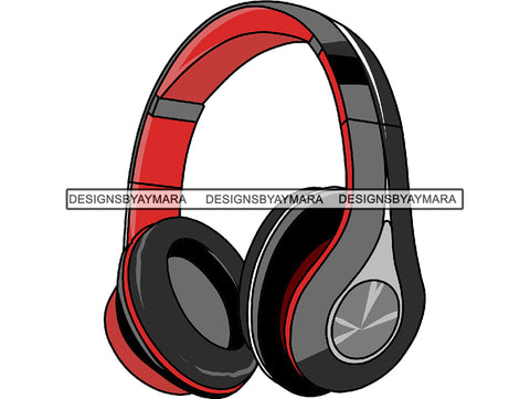 Headphone Earphone Ear Music Red Sound Wireless Bluetooth Headset Headgear Design Song Bluetooth.PNG .SVG Clipart Vector Cricut Cut Cutting