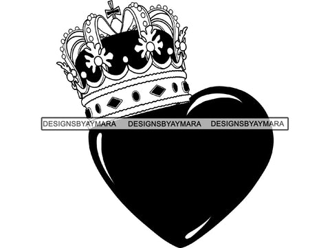 Gold Crown King Queen Royal Royalty Monarchy Kingdom Ruler Prince Heart Tiara Throne Treasure .PNG .SVG Clipart Vector Cricut Cut Cutting