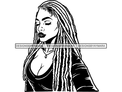 Woman With Locs Dreads In BW In Black SVG JPG PNG Vector Clipart Cricut Silhouette Cut Cutting