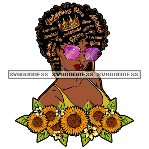 Black Woman With Words In Hair Sunflowers SVG JPG PNG Vector Clipart Cricut Silhouette Cut Cutting