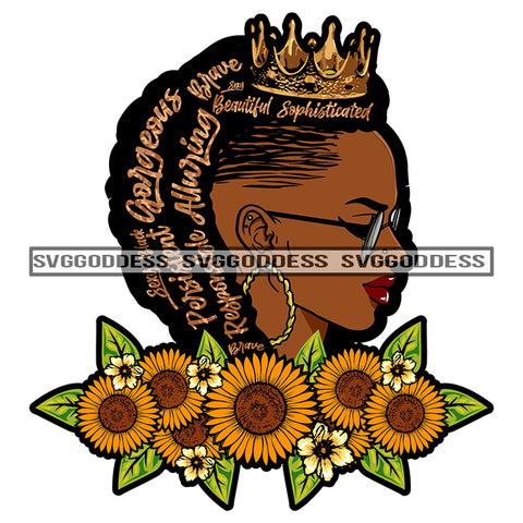 Black Woman With Words In Hair Wearing A Crown Sunflowers SVG JPG PNG Vector Clipart Cricut Silhouette Cut Cutting