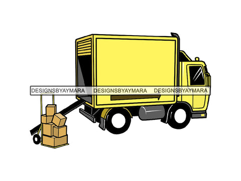 Moving Move Truck Transport Transfer Cargo Carrier Delivery Lift Order Box Deliver Vehicle Load .PNG .SVG Clipart Vector Cricut Cut Cutting