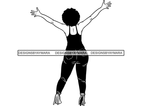 Woman In Jeans And Top In BW In Heels SVG JPG PNG Vector Clipart Cricut Silhouette Cut Cutting