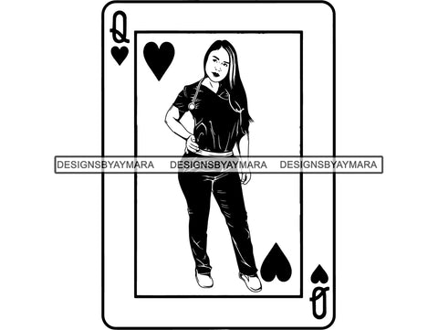 Nurse Diva On A Queen Of Hearts Playing Card In BW  SVG JPG PNG Vector Clipart Cricut Silhouette Cut Cutting