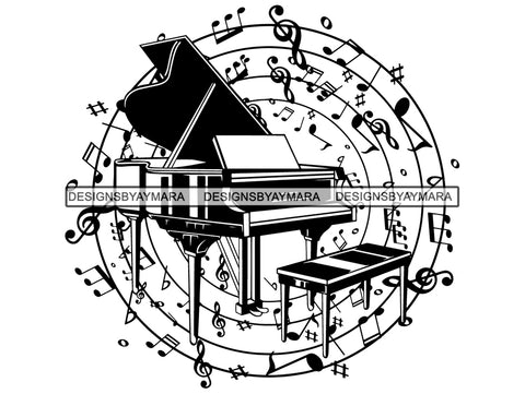 Piano Grand Music Musical Musician Note Flying Sphere Chair Organ Classical Design Pattern .SVG .EPS .PNG Vector Space Clipart Digital Download Circuit Cut Cutting
