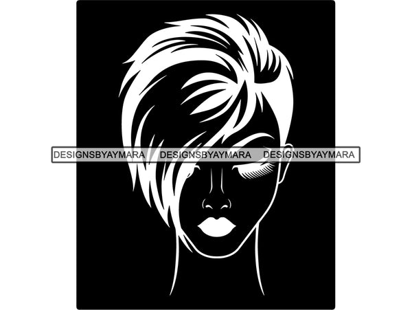 Beautiful Woman SVG Make Up Artist Fabulous Queen Diva Classy Lady Princess Hairstyle Lips Eyelashes SVG PNG EPS JPG Vector Cricut Cutting Circuit Cut