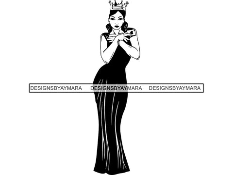 Woman In Black Gown Wearing A Crown In BW  SVG JPG PNG Vector Clipart Cricut Silhouette Cut Cutting