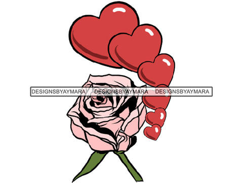 Red Hearts And Pink Roses SVG JPG PNG Vector Clipart Cricut Silhouette Cut Cutting