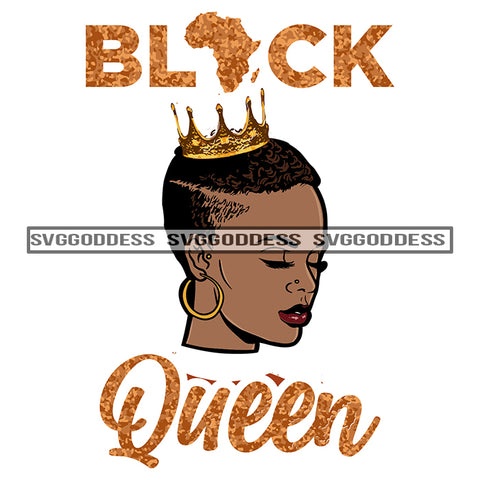 Black Queen Wearing Crown In Gold Africa SVG JPG PNG Vector Clipart Cricut Silhouette Cut Cutting