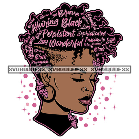 Black Woman With Pink Words In Hair Alluring Wonderful SVG JPG PNG Vector Clipart Cricut Silhouette Cut Cutting