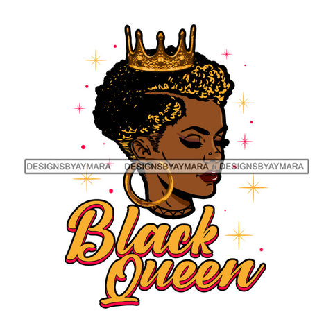 Black Queen Golden Black Woman Wearing Crown Decal SVG JPG PNG Vector Clipart Cricut Silhouette Cut Cutting