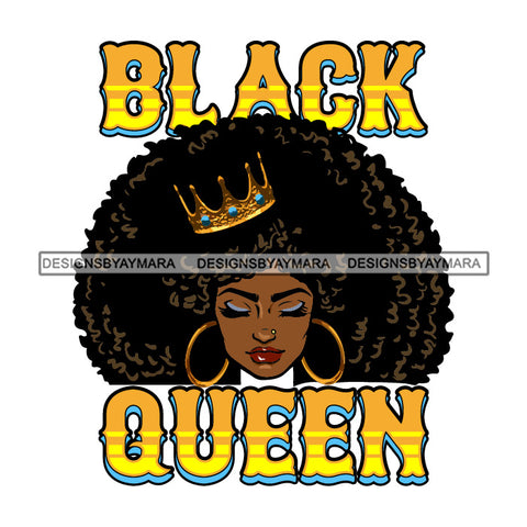 Black Queen Golden Wearing Crown Big Afro SVG JPG PNG Vector Clipart Cricut Silhouette Cut Cutting