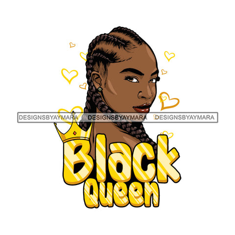 Black Queen Golden With Cornrows SVG JPG PNG Vector Clipart Cricut Silhouette Cut Cutting