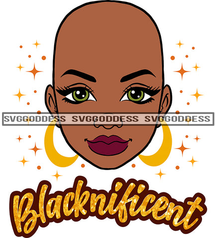 Blacknificent Bald Black Woman  SVG JPG PNG Vector Clipart Cricut Silhouette Cut Cutting