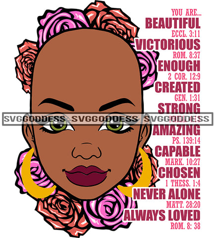 Bald Black Woman Pink Flowers With Bible Verses You Are Beautiful  SVG JPG PNG Vector Clipart Cricut Silhouette Cut Cutting