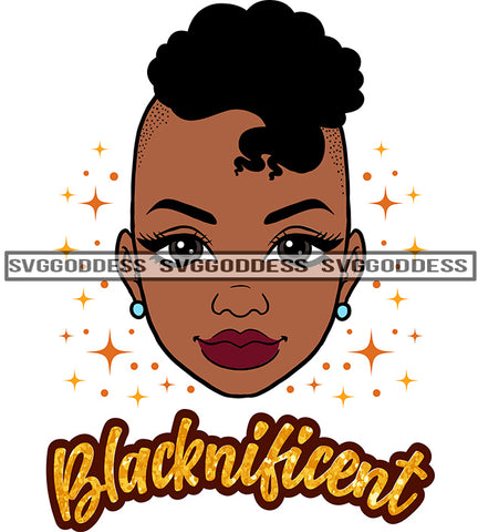 Black Woman Blacknificent Mohawk SVG JPG PNG Vector Clipart Cricut Silhouette Cut Cutting