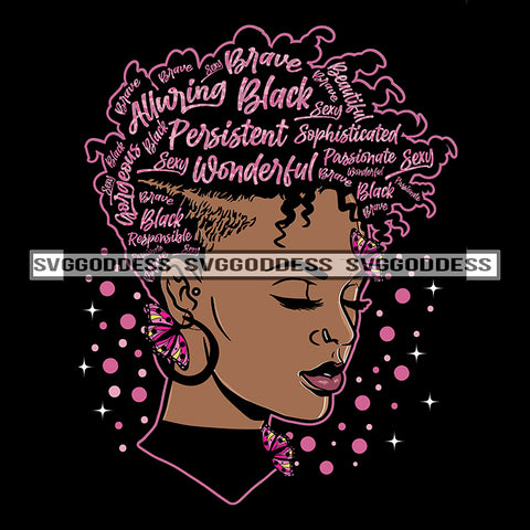 Black Afro Woman Goddess Queen Pink Words In Hair Black Woman Butterfly SVG JPG PNG Vector Clipart Cricut Silhouette Cut Cutting