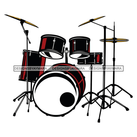 Drum Set Black Red Cymbals Drummer  SVG JPG PNG Vector Clipart Cricut Silhouette Cut Cutting