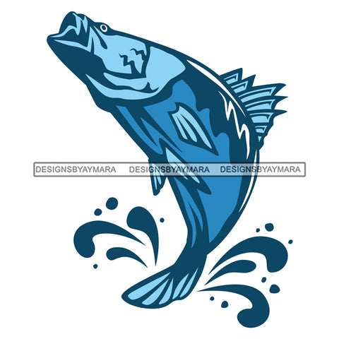 Blue Fish Logo Jumping Fish Splash SVG JPG PNG Vector Clipart Cricut Silhouette Cut Cutting