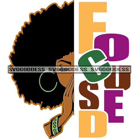 Afro Black Woman Focused Afro Hair Word Focused Praying SVG JPG PNG Vector Clipart Cricut Silhouette Cut Cutting