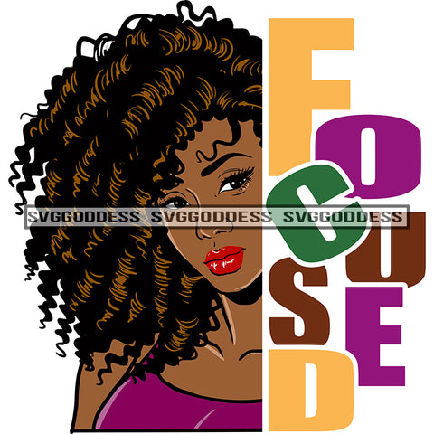 Afro Black Woman Looking Focused Long Curly Brown Hair Purple Top Word Focused  SVG JPG PNG Vector Clipart Cricut Silhouette Cut Cutting