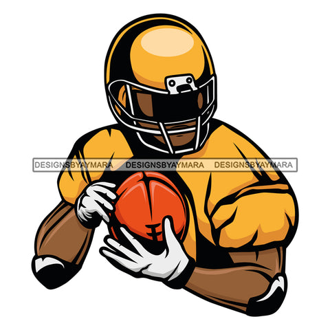 Football Player Football Sports Ball Carrier Yellow Gold Helmet  SVG JPG PNG Vector Clipart Cricut Silhouette Cut Cutting