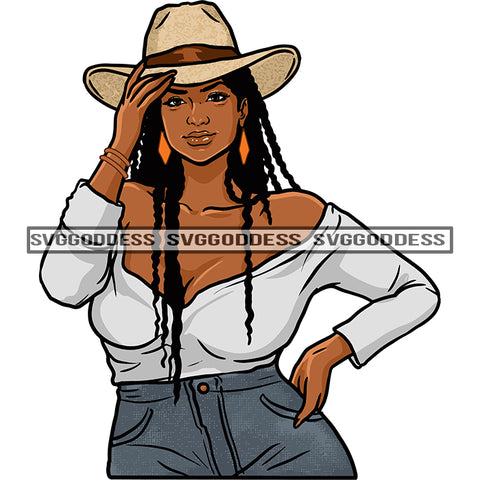 Black Woman In Cowboy Hat Long Braids Gray Top And Gray Jeans SVG JPG PNG Vector Clipart Cricut Silhouette Cut Cutting