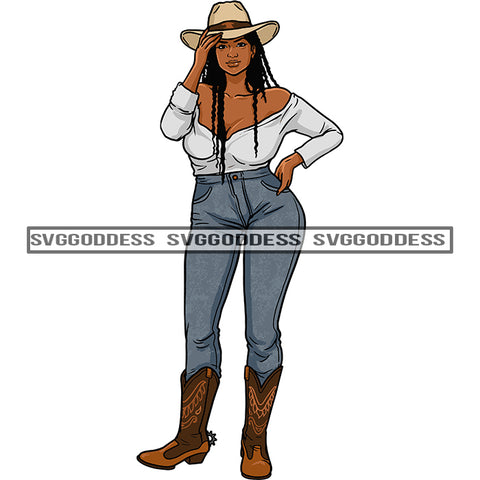 Black Woman In Cowboy Hat Long Braids Gray Top And Gray Jeans Standing SVG JPG PNG Vector Clipart Cricut Silhouette Cut Cutting
