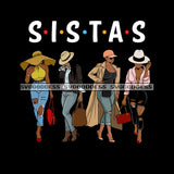 Sista's With Afro In Long Pants Sistas Best Friends Melanin Wearing Hat Black Background SVG JPG PNG Clipart Cricut Silhouette Cut Cutting