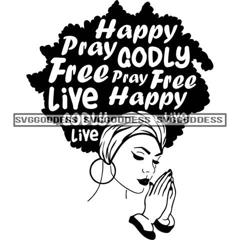 Sister Diva With Words In Hair Praying Happy Headwrap in BW SVG JPG PNG Vector Clipart Cricut Silhouette Cut Cutting