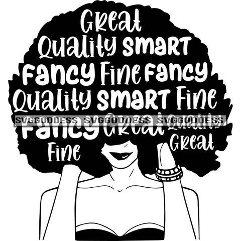 Big Afro With Words In Hair Fancy In BW SVG JPG PNG Vector Clipart Cricut Silhouette Cut Cutting