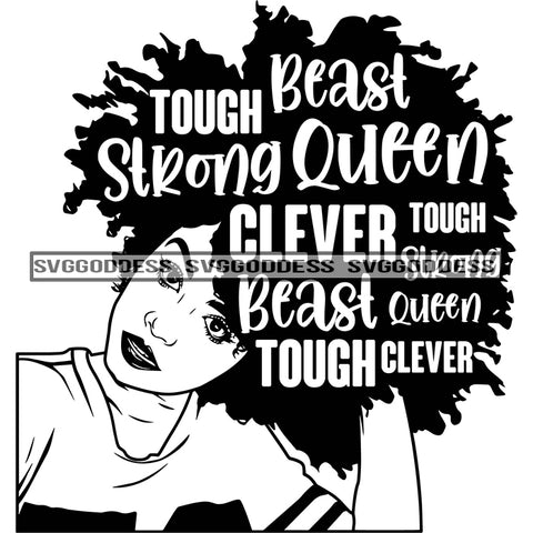 Diva With Words In Hair Tough In BW In A Jersey SVG JPG PNG Vector Clipart Cricut Silhouette Cut Cutting