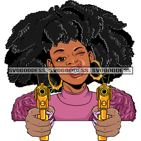 Afro Black Woman With Guns Blazing Big Afro Hood Pink Top Bamboo Earrings  SVG JPG PNG Vector Clipart Cricut Silhouette Cut Cutting