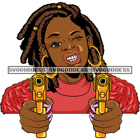 Afro Black Woman With Guns Blazing Locs Hood Teeth Pink Top Bamboo Earrings  SVG JPG PNG Vector Clipart Cricut Silhouette Cut Cutting