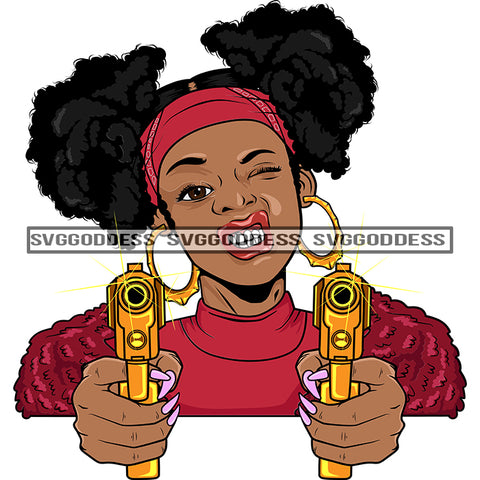 Afro Black Woman With Guns Blazing Afro Puffs Hood Teeth Pink Top Bamboo Earrings  SVG JPG PNG Vector Clipart Cricut Silhouette Cut Cutting