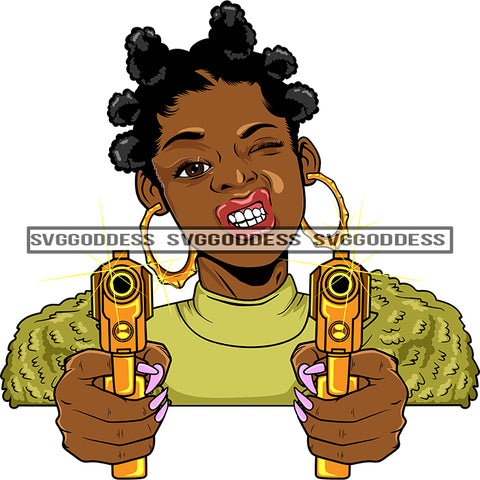 Afro Black Woman With Guns Blazing Afro Puffs Hood Teeth Yellow Top Bamboo Earrings  SVG JPG PNG Vector Clipart Cricut Silhouette Cut Cutting