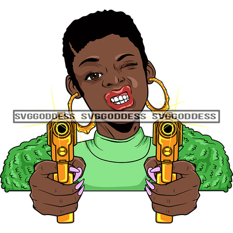 Afro Black Woman With Guns Blazing Short Afro Hair Hood Teeth Green Top Bamboo Earrings  SVG JPG PNG Vector Clipart Cricut Silhouette Cut Cutting
