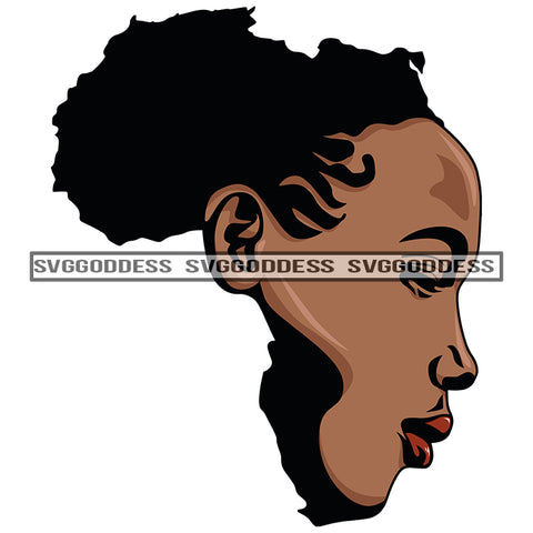 Africa Face Africa Continent Afro Woman Black SVG JPG PNG Vector Clipart Cricut Silhouette Cut Cutting