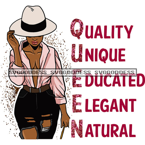 Queen Quality Unique Educated Elegant Natural Afro Woman Pink Blouse Hat Black Jeans SVG JPG PNG Vector Clipart Cricut Silhouette Cut Cutting
