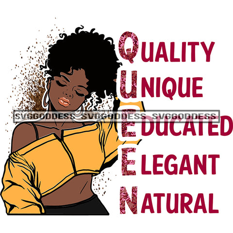 Queen Quality Unique Educated Elegant Natural Afro Woman Gold Top Curly Hair Posing SVG JPG PNG Vector Clipart Cricut Silhouette Cut Cutting