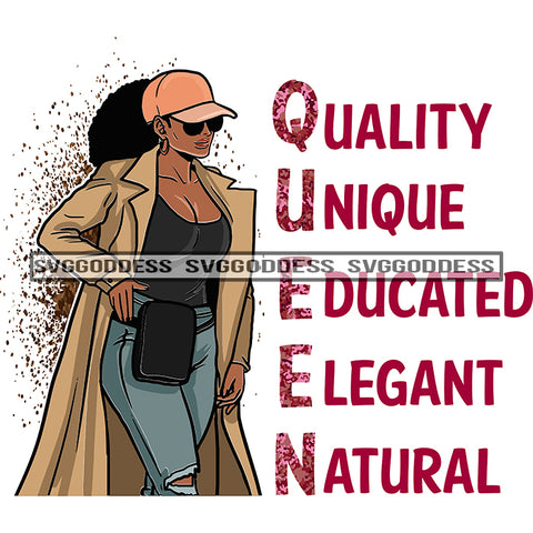 Queen Quality Unique Educated Elegant Natural Afro Woman SVG JPG PNG Vector Clipart Cricut Silhouette Cut Cutting