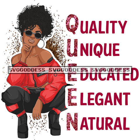 Queen Quality Unique Educated Elegant Natural Afro Woman Red Black Squatting SVG JPG PNG Vector Clipart Cricut Silhouette Cut Cutting