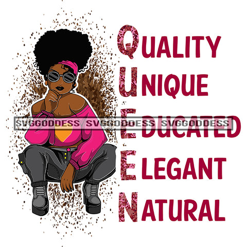 Queen Quality Unique Educated Elegant Natural Afro Boots Woman Pink Top Afro Hair Posing SVG JPG PNG Vector Clipart Cricut Silhouette Cut Cutting