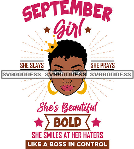 September Birthday Afro Woman Short Afro Hair Like A Boss SVG JPG PNG Vector Clipart Cricut Silhouette Cut Cutting