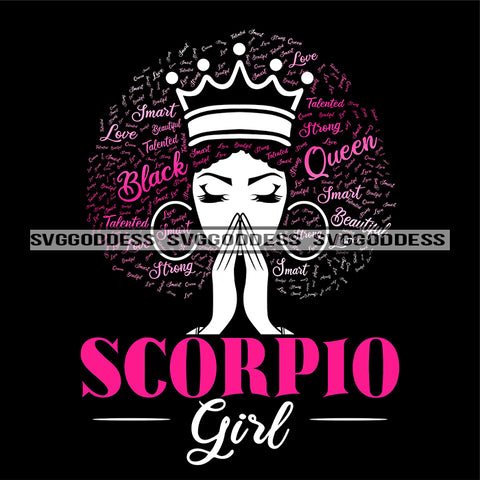 Scorpio Girl Afro Woman Crown Words In Hair Praying Hands Hoop Earrings SVG JPG PNG Vector Clipart Cricut Silhouette Cut Cutting