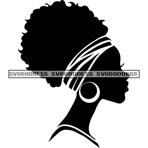 Afro Woman Silhouette Headwrap Earring Sideview Afro Hair Black SVG JPG PNG Vector Clipart Cricut Silhouette Cut Cutting