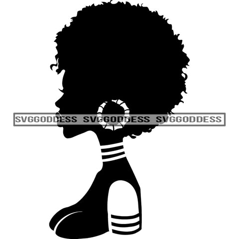 Afro Woman Silhouette  Earring Sideview Afro Hair Black SVG JPG PNG Vector Clipart Cricut Silhouette Cut Cutting